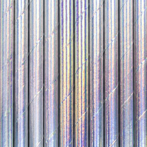 10 pailles carton iridescent bleuté 19,5cm