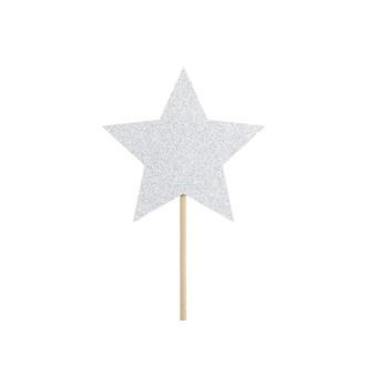 Décor à piquer étoile argentée 6 pièces