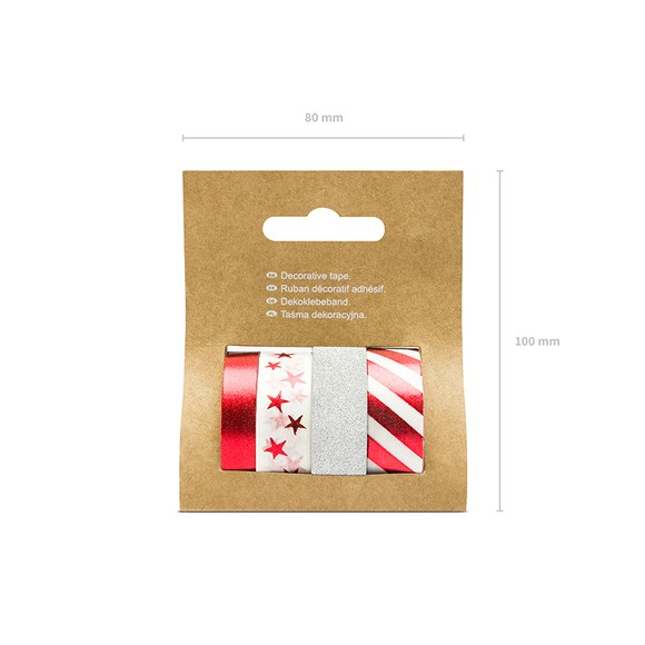 Masking tape rouge et argent x4