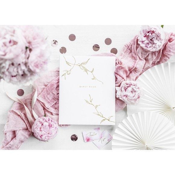 Livre d'or blanc branche or guest book, 20x24,5cm 22pages