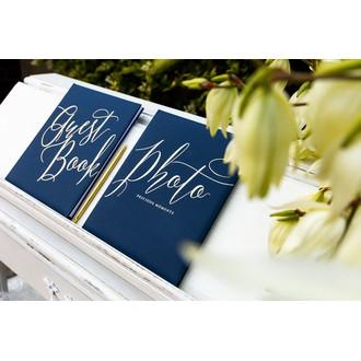 Livre d'or bleu marine guest book, 20x24.5cm 22 pages