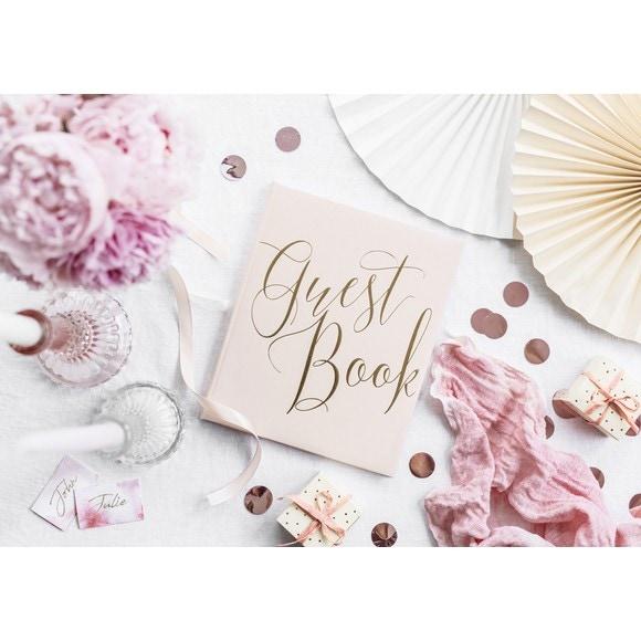 Livre d'or bleu rose guest book, 20x24.5cm 22 pages