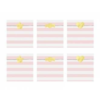 6 Sachets bonbons rayés roses