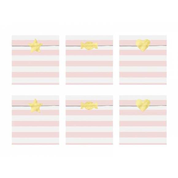 Achat en ligne 6 Sachets bonbons rayés roses