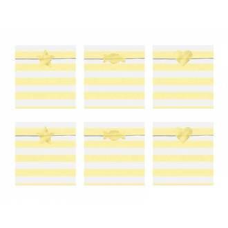 6 Sachets bonbons rayés jaunes