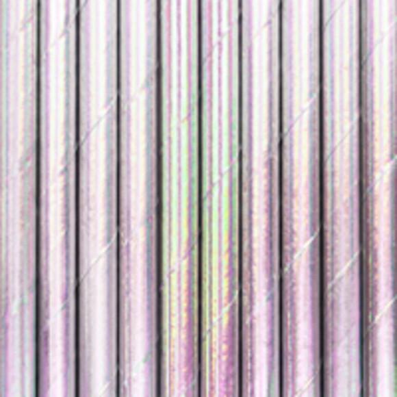 10 pailles carton iridescent rosé 19,5cm