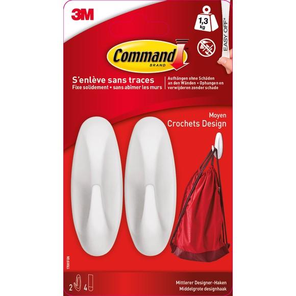 Crochet plastique design blanc charge jusqu'à 1,3kg