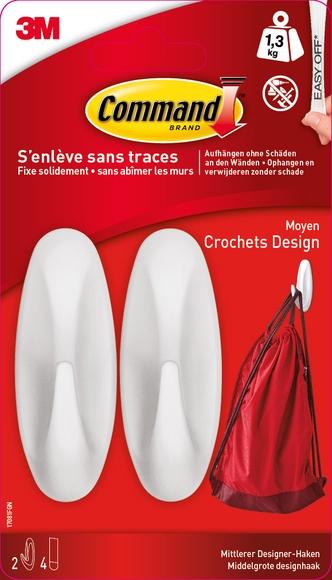 Achat en ligne Crochet plastique design blanc charge jusqu'à 1,3kg