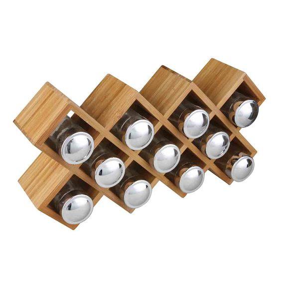 Portaspezie in bambù 11 scomparti 36,5 x 8 x 18,7cm