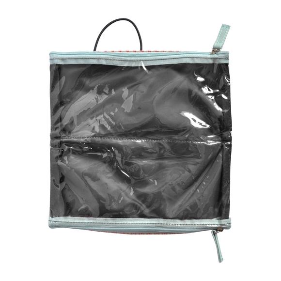 Trousse de toilette en coton enduit corail 22x2.5x10cm