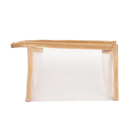 Trousse de toilette en toile beige 20x5x14cm