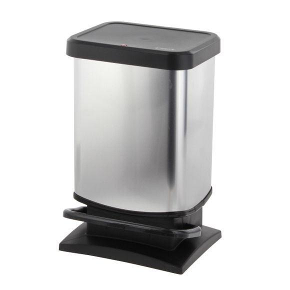 Pattumiera rettangolare a pedale in plastica effetto metallo 20L