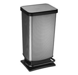 compra en línea Cubo de basura con pedal rectangular plástico de carbono 40L