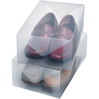 Set de 2 boîtes à chaussures transparentes pour homme 34x21