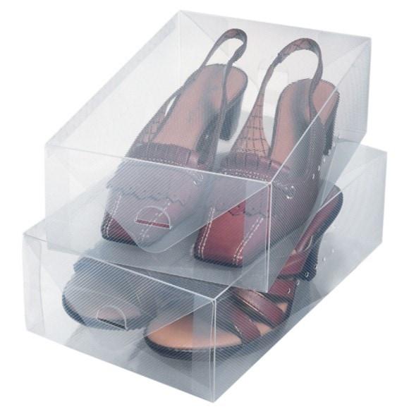 Set de 2 boîtes à chaussures transparentes pour femme 34x21