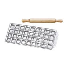 compra en línea Molde para 36 raviolis de acero esmaltado con rodillo de madera