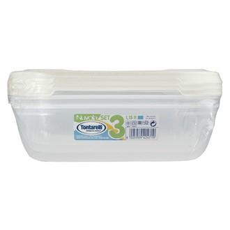 Lot de 3 boites rectangles en plastique nuvola acqua 1,15l