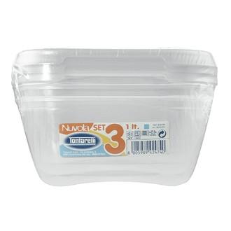 Lot de 3 boites carées en plastique nuvola acqua 1,15l