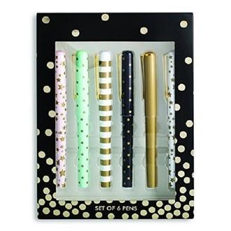 set de 6 stylos à bille métallisés à motifs étoiles, pois et rayures