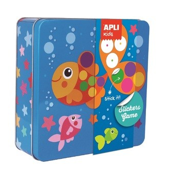 APLI - Boite de jeu de gommettes poisson - boite en métal