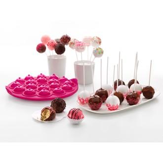 Stampo per 18 cake pops in silicone rosa