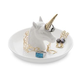 Balvi - porte bagues en forme de licorne blanc et doré ceram grand modèle