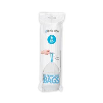 BRABANTIA - Set 20 sacs poubelle lettre E 20L en plastique blanc