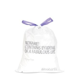 BRABANTIA - Set 20 sacs poubelle lettre D 15L en plastique blanc