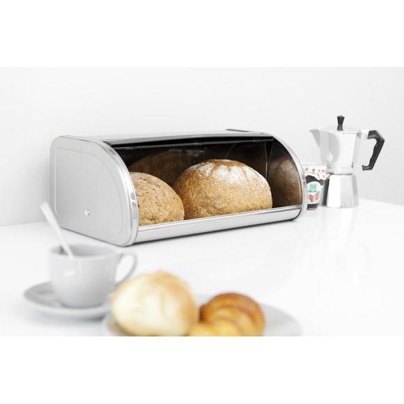Boîte à pain avec couvercle coulissant inox