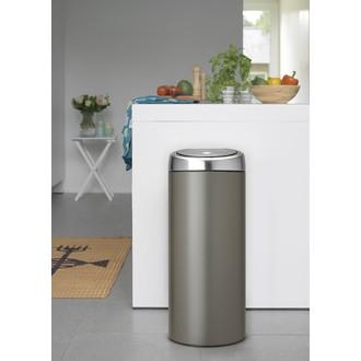 BRABANTIA - Poubelle ronde touch bin ronde en plastique noir et argent 30L