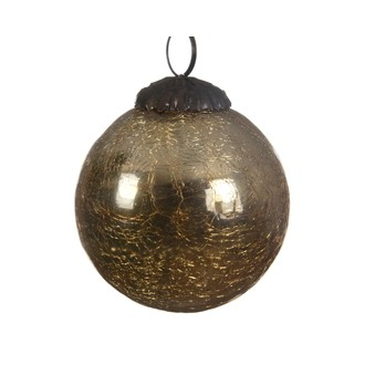 Décoration de Noël boule à suspendre en verre craquelé doré ø7,5cm