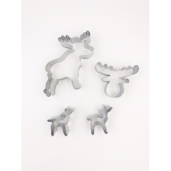 Set de 4 découpoirs biches/caribous en inox argent
