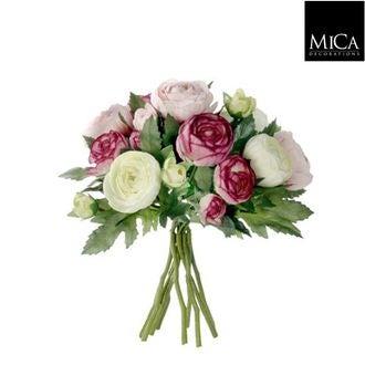 Bouquet de renoncules artificelles roses 22cm