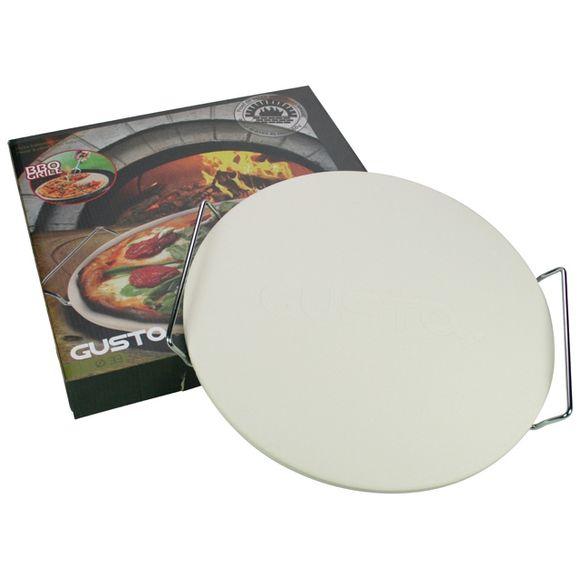 Pietra refrattaria tonda per pizza con supporto, diametro 33cm