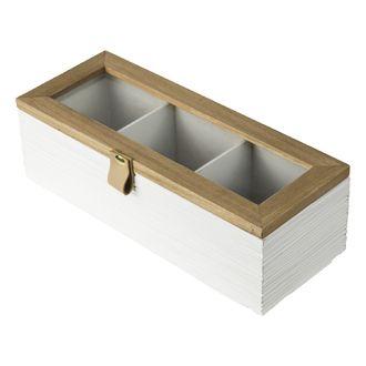 Boîte de thé en bois blanc 3 compartiments