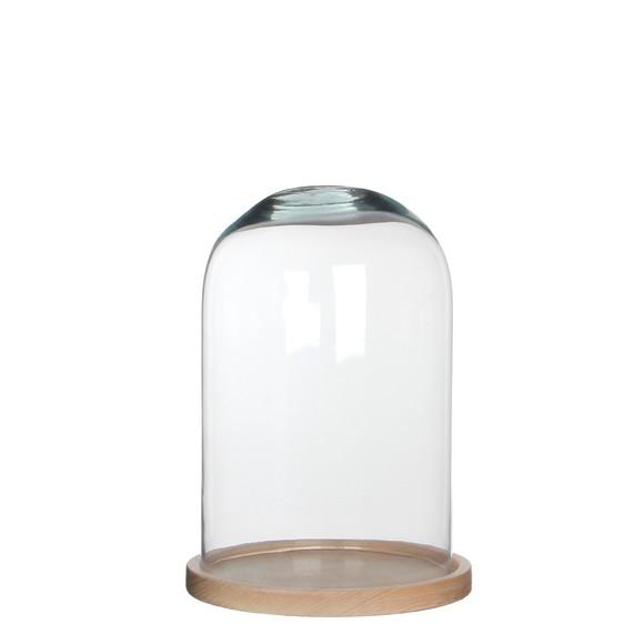 Achat en ligne Cloche en verre avec socle en bois brut Hella 30x21cm