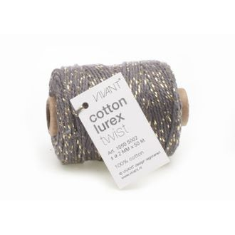 Fil de coton lurex twist gris fonce 50mx2mm