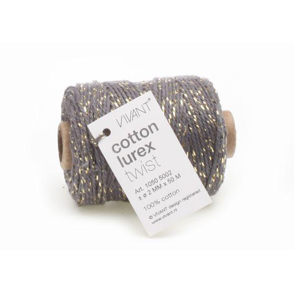Fil de coton lurex twist gris fonce 50mx2mm