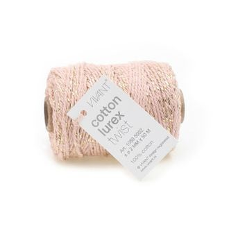 Fil de coton lurex twist rose marbre 50mx2mm