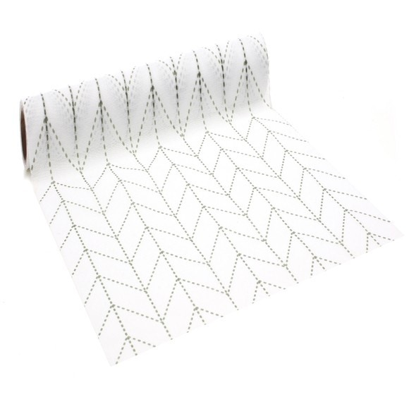 Achat en ligne Chemin de table imprimé pointillé kaki 0,28x2,5m