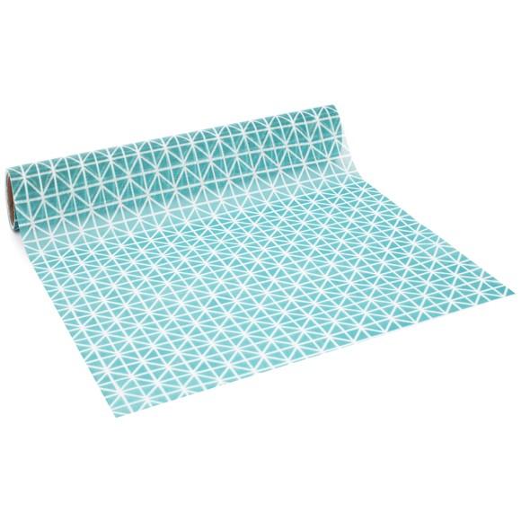 Achat en ligne Chemin de table imprimé origami bleu paon 0,28x2,5cm