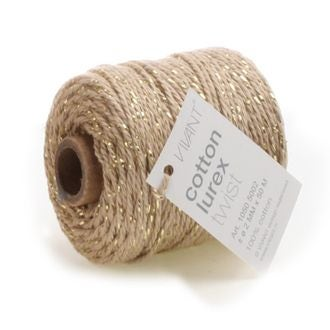 Fil de coton lurex twist taupe 50mx2mm