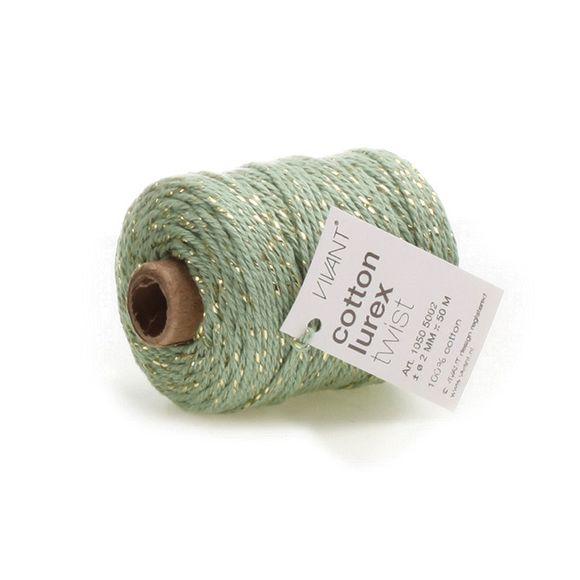 Achat en ligne Fil de coton lurex twist vert olive 50mx2mm