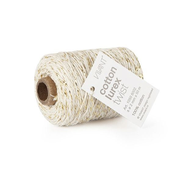 Fil de coton lurex twist ivoire 50mx2mm