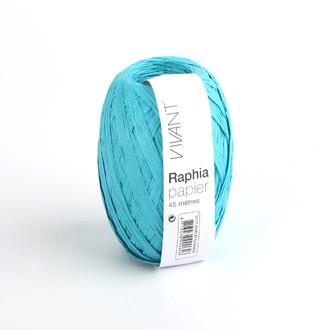 Raphia papier turquoise 4,5x4cm