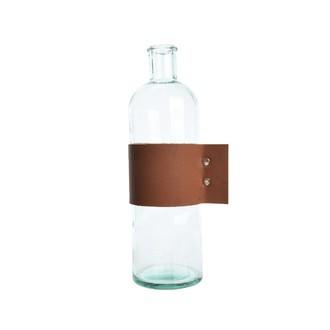Carafe en verre recyclé avec anse cuir, 32cm