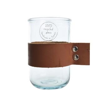 Gobelet en verre recyclé avec anse cuir, 12cm