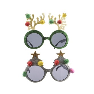 Lunettes de soleil de Noël renne ou étoile à paillettes