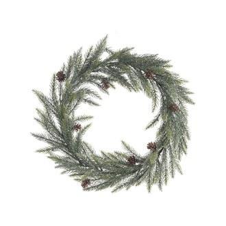 Décoration de Noël couronne à suspendre sapin artificiel enneigé et pomme de pin ø46cm