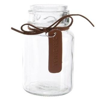 petit pot en verre rond assorti avec corde en cuir
